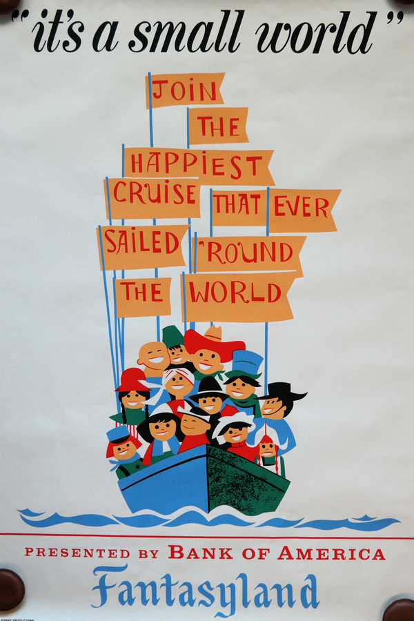 """Hand-silkscreened poster for the """"It's a Small World"""" attraction. Designed by Imagineer Paul Hartley,"""
